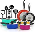 VREMI 15 pcs Non Stick Color Pop Cookware set Cool Touch Handles Oven Safe PTFE and PFOA free