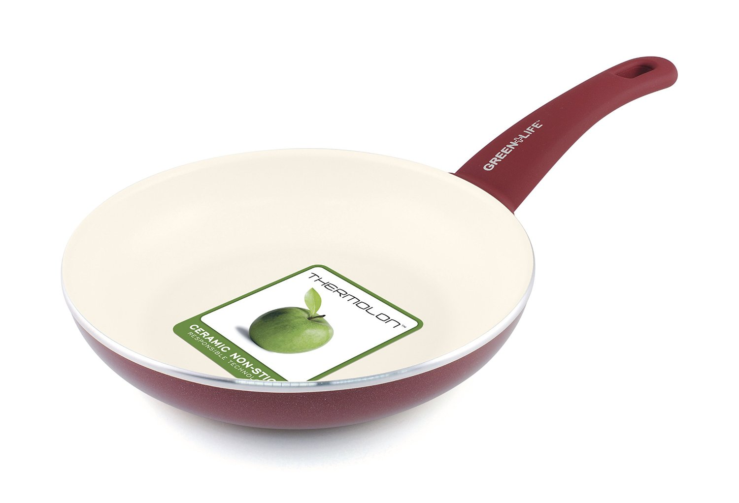 GreenLife 8 Inch Ceramic Non-Stick Frypan with Soft Grip Red