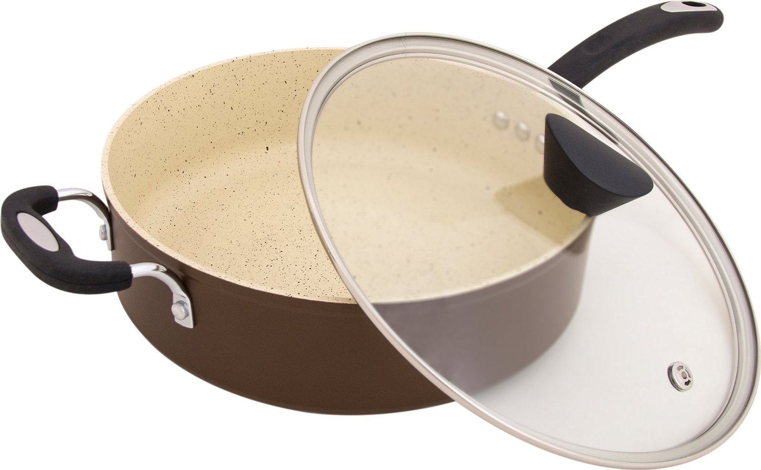 The Stone Earth All-In-One Sauce Pan by Ozeri with 100% APEO & PFOA-Free Stone-Derived Non-Stick Coating from Germany
